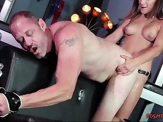 Lusty domina straponfucking her tied slave