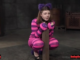 Restrain bondage babe is dangled up for pussy toying