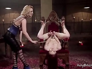 Two horny lezzies enjoying restrain bondage hook-up