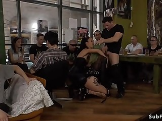 Green haired hoe gangbang in public