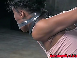 Groped swarthy submits to her maledom slavemaster