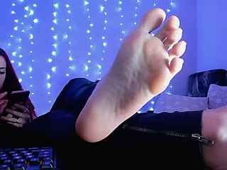 Wife headmistress and her thrall spouse.menacing cam femdom feet worship