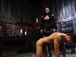 FemaleDominant rides gag sextoy on male thrall