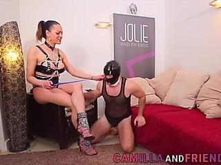 Camilla jolie spanks her thrall and bonks him