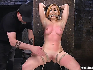 Hogtied honey acquires she-creature and bastinado