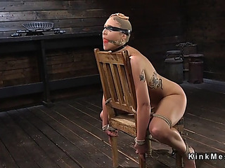Brunette Hair thrall receives pantyhose over face