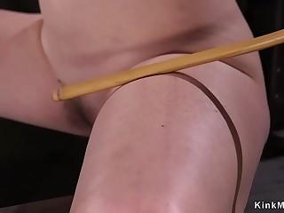Blonde sub ass caned in doggy bondage