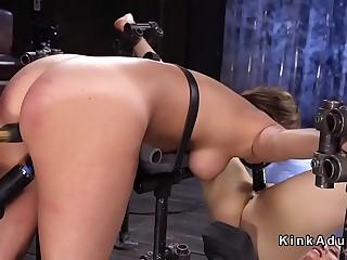 Lesbian slaves fucking with dildo gag