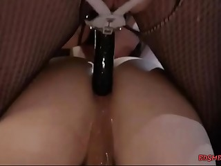 Lusty mistress pegging her slave boy