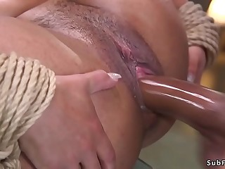 Petite ebony sub spanked and fucked bdsm