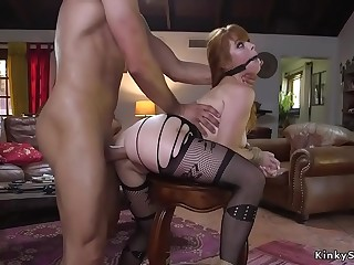 Huge tits redhead anal fucked and cummed