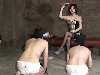 Japanese Femdom Dominatrix Sherry and Her Three Slaves