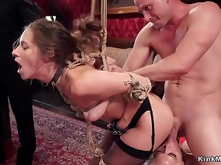 Brunette rough anal banged at bdsm party