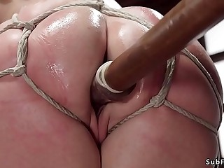 Wife in stockings toyed in bondage
