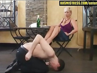 Feet worship and humiliation with blonde bitch