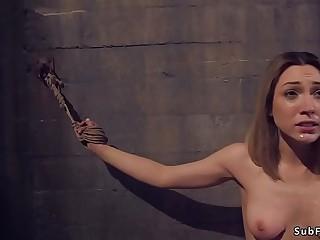 Hard anal fucking for brunette slave