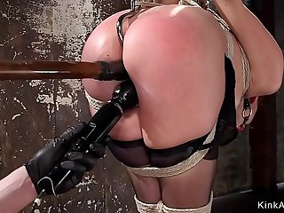 Busty redhead takes anal hook and dildo