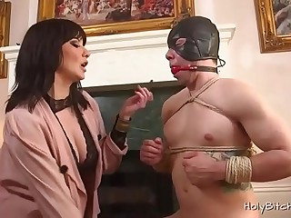 Dude enjoys bondage sex with a horny mistress