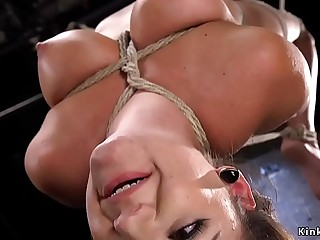 Tied up slave fucked with dick in dungeon
