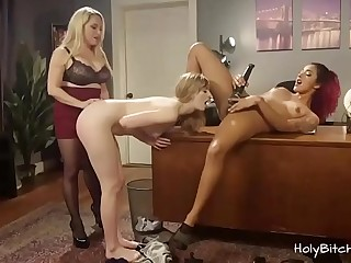 Horny ladies enjoying bondage threesome sex