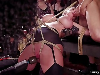 Ebony and Milf serving bdsm orgy ball