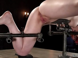 Redhead caned and fucked in bondage
