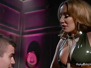 Voluptuous domina pegging her slaves ass