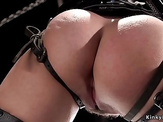 Zippered slave in bondage pussy vibed