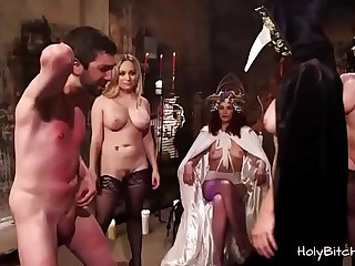 Group of domino milfs playing with their slave