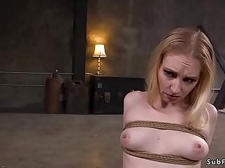 Pale slave takes huge dick in bondage