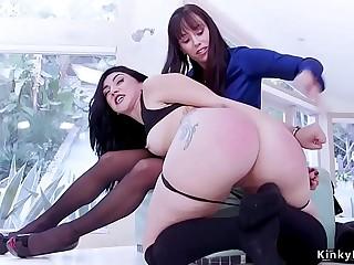 Milf spanks her big ass step daughter