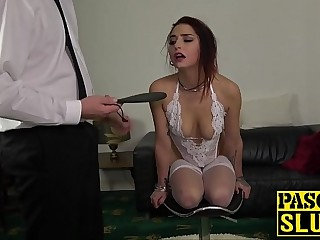 Subslut fucked really hard after being slapped around first