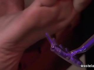 Shaven Submissive Bound On Wooden Table And Tormented With Devices