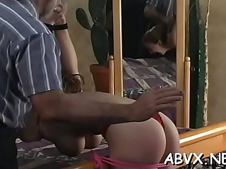 Cheerful sweetheart got a task to play with a maritaldevice