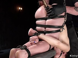 Master with gloves fingers brunette gimp