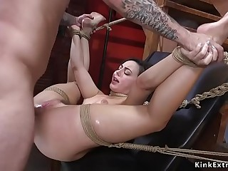 Big cock guy anal fucks tied up honey