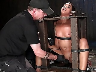 Small tits ebony slave fingered in device