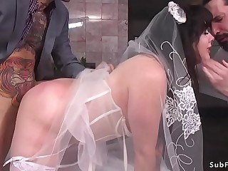 Brunette bride interracial gangbang fuck
