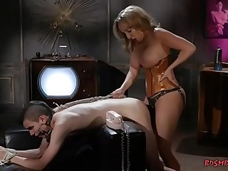Guy getting his ass fucked by domina